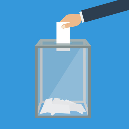 poll: Voting, election concept. Vector illustration flat design style. Transparent glass box. Man holds in his hand bulletin, puts in ballot box. Illustration