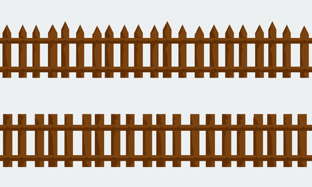 Set of Wooden Farm Fence. Vector with flat and solid color style design