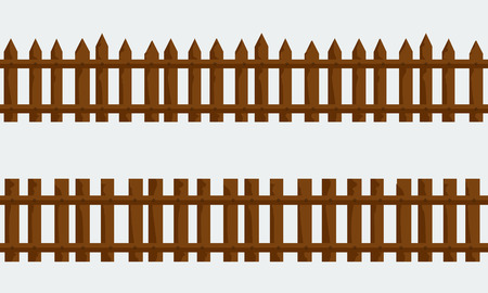 solid color: Set of Wooden Farm Fence. Vector with flat and solid color style design