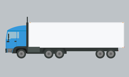 solid color: Long vehicle trailer truck with flat and solid color design. Illustration