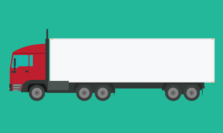 solid: Long vehicle trailer truck with flat and solid color design. Illustrated vector icon. Illustration