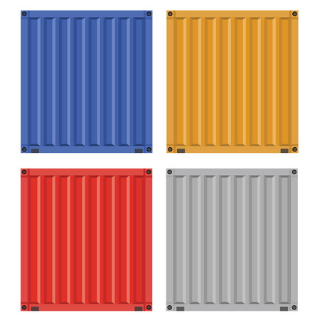 solid color: Set of Cargo container for shipping with flat solid color design. Different colors.
