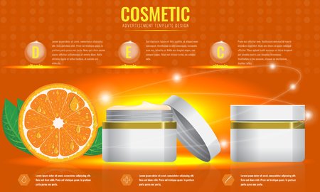 skin tones: Cosmetic ads template, blank cosmetic mockup with sparkling effect. Orange with leaf. Product information and translucent liquid ball. Vector 3D illustration Illustration