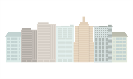 solid color: Colorful Building and City, Urban cityscape. Flat and solid color style vector.