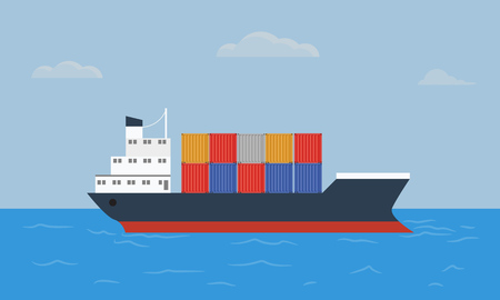 solid color: Cargo container ship transports containers at the blue ocean. Flat and solid color style vector illustration