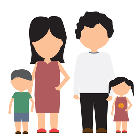 solid color: Happy family vector icon with flat and solid color design. Family portrait with minimalism style. Illustration