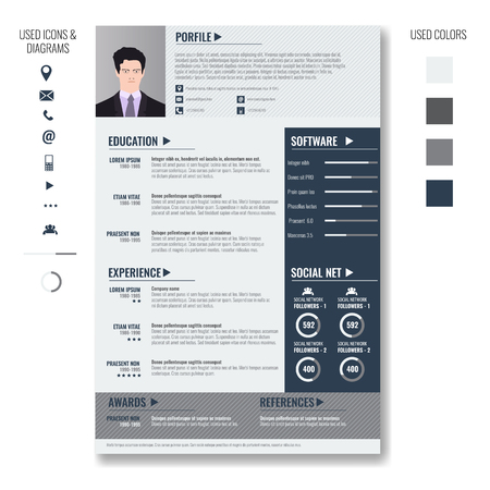 Vector Creative Minimalist Cv Resume Template With Photo Frame ...