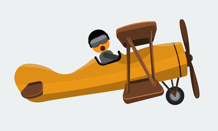 shockwave: Illustration of a man pilot riding on a vintage plane on a white background. Vector illustration with flat and solid color design