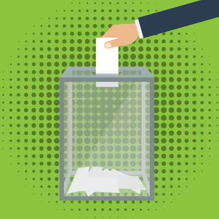 Voting, election concept. Vector illustration flat design style. Transparent glass box. Man holds in his hand bulletin, puts in ballot box. Illustration