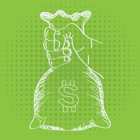 Hand holding money bag. Vector with modern and trendy line art sketch style.