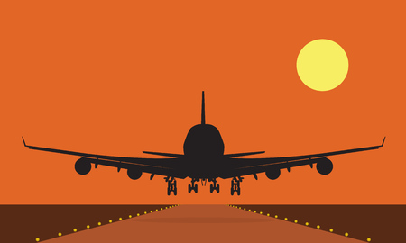 Landing plane over runway at sunset. Flat and solid color travel concept background.