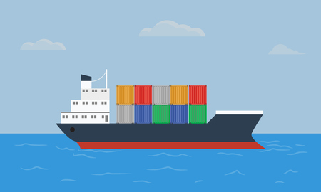 Cargo container ship transports containers at the blue ocean. Flat and solid color style vector illustration