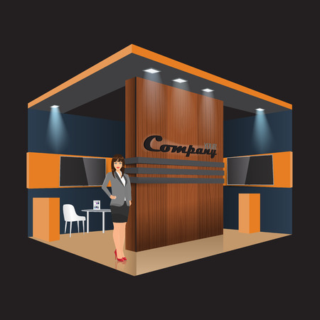 display stand: Unique creative wooden exhibition stand display design info board, roll up for a furniture company. Vector Display Mock-up and corporate identity. Business lady standing beside.
