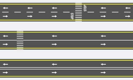 上からシームレスなアスファルト道路と高速道路のタイプを表示します。ベクトル図  イラスト・ベクター素材