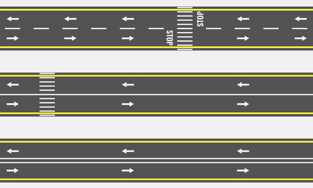 Seamless asphalt road and highway types from top view. Vector illustration Illustration