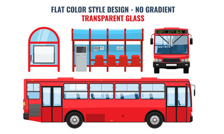 Cool modern flat design public transport. Bus stop structure and city bus, side and front view, isolated. Flat and solid color design.