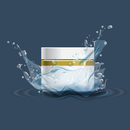 water: Cosmetics product advertising template with water splash. Vector illustration.