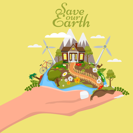 Earth day illustration. Hand holding the earth with cute and beautiful nature. Illustrated vector. Illustration