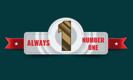 Number one background with ribbon. Banner for Poster or brochure template. Vector illustration Banco de Imagens - 74617143