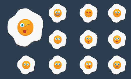Set of Fried egg with emoji. Flat and solid color design. Breakfast concept