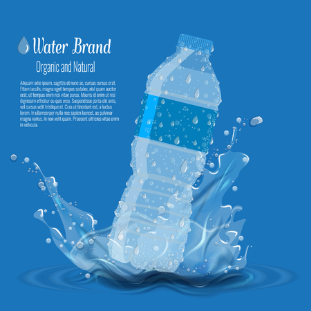 Bottle with clean pure water with water splash. Vector illustration for water advertisement template.