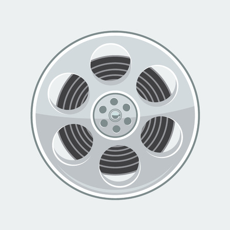 Vintage film movie reel isolated. Flat and solid color style design with minimalism for your poster design.