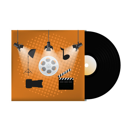 long recovery: Multimedia concept poster design on vinyl cover. Vector illustration