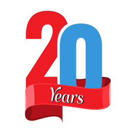 20 year anniversary logo with red ribbon. Flat style vector illustration