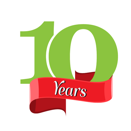 10 year anniversary logo with red ribbon. Flat style vector illustration