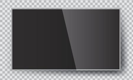Smart Led TV hanging on the wall. Vector illustration mock-up