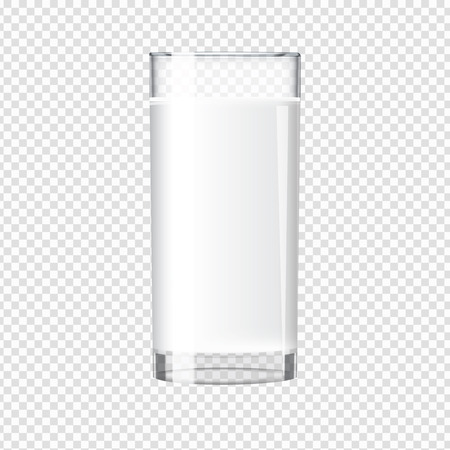 pasteurized: Milk in a transparent glass mock up. Tall glass with beverage. Realistic Vector illustration.