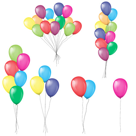 Bunches and groups of colorful helium balloons isolated. Illustrated vector. Vettoriali