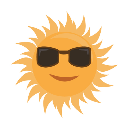 Happy cartoon style sun is smiling with sunglasses. Illustrated vector