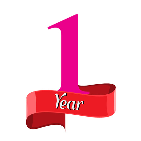 1 year anniversary logo with red ribbon. Flat style vector illustration