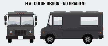 Food Truck Hi-detailed with solid and flat color design template for Mock Up Brand Identity. Front and side view. 矢量图像