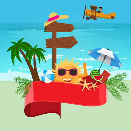 Summer vector banner design concept with sea or ocean background and Red empty ribbon for your text.