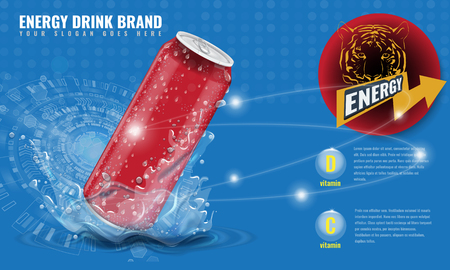 Energy drink metal can mockup with water splash and drops for advertisement layout 3d template for your design. Illustrated vector. Illustration