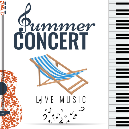 Summer concert Jazz and Blues music festival. Poster background template with flying musical notes guitar and piano. Vector design.