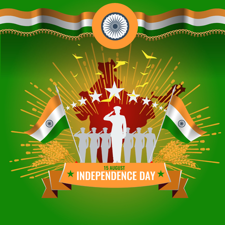 Festive illustration of independence day in India celebration on August 15. vector design elements of the national day.