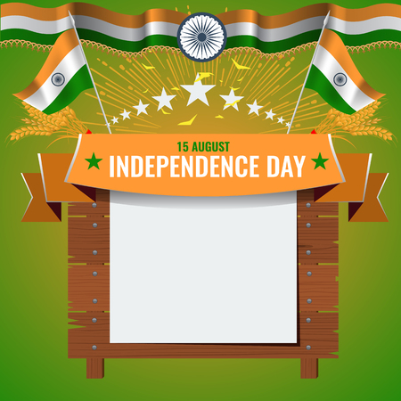 Greeting card design relating Festive illustration of independence day in India celebration on August 15. Empty board or place for your text