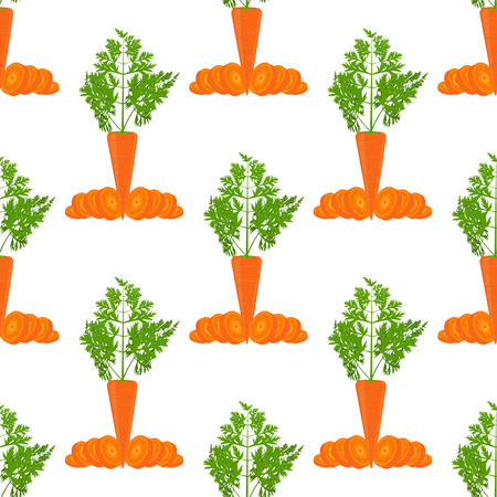 Carrot vector seamless pattern. Flat and solid color vector illustration.
