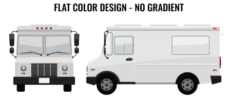 White Food Truck Hi-detailed with solid and flat color design template for Mock Up Brand Identity. Front and side view Illustrated vector Illustration