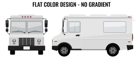 White Food Truck Hi-detailed met effen en egale kleur ontwerpsjabloon voor Mock Up Brand Identity. Voor- en zijaanzicht Geïllustreerde vector Stock Illustratie