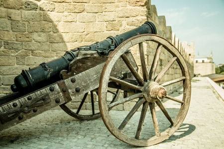 Cannon at old ancient vintage castle.