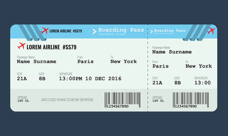Airplane ticket mock up design template.