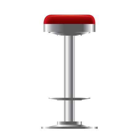 Red and metallic realistic bar stool illustration.