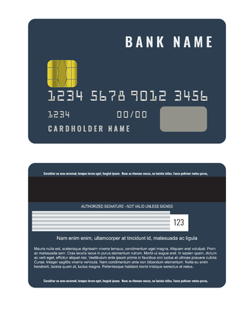 Realistic credit card with a chip front and back side view mock up.