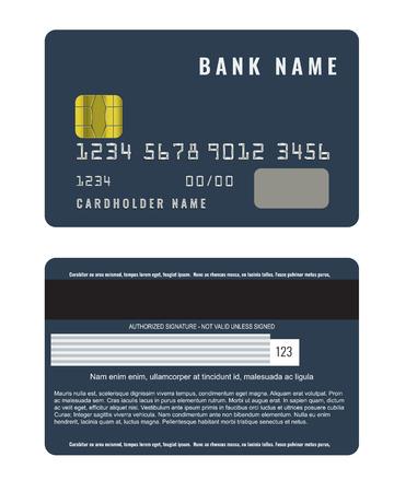 Realistische creditcard met een voorkant van de voorkant en achteraanzicht.