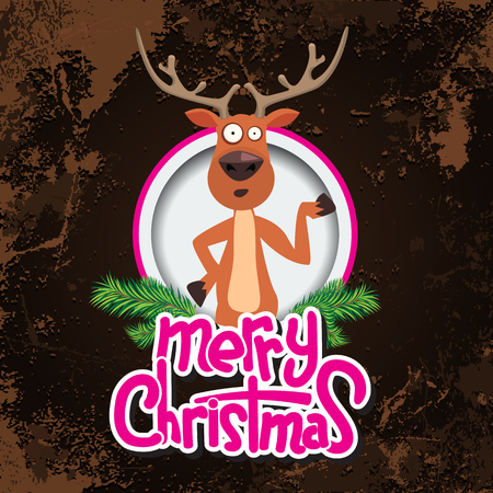 xmass: Christmas greeting card design with reindeer pointing at something in a circle. Merry christmas calligraphy. Old paper and Grunge effect with carving style Vector Illustration Illustration