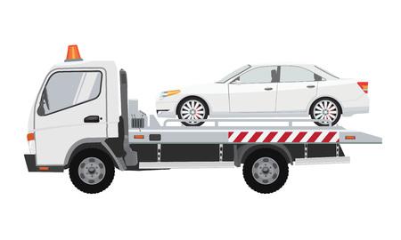 Camion bianco di traino con auto di berlina bianca su esso